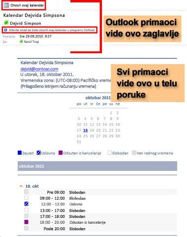 Primer kalendara dobijenog pomoću funkcije slanja kalendara e-poštom