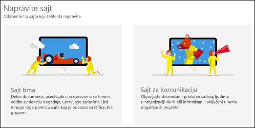 Odaberite tip lokacije u sistemu SharePoint Online