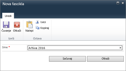 Dijalog SharePoint 2010 novu fasciklu.