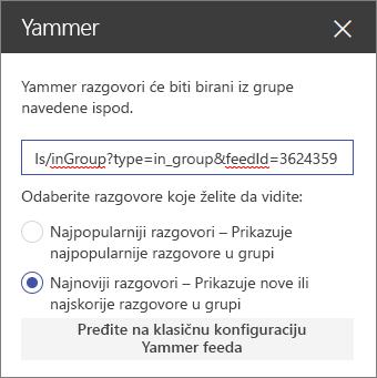 Okno sa svojstvima usluge Yammer