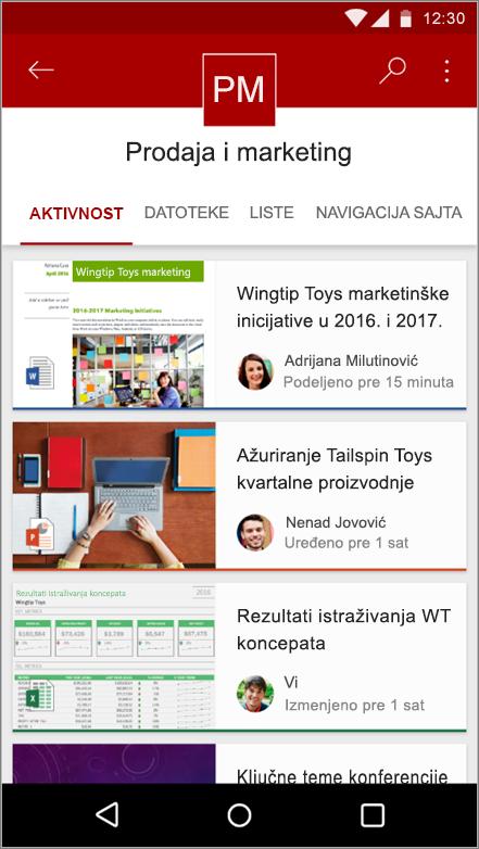 Snimak Android aplikacije za mobilne uređaje koji prikazuje aktivnost lokacije, datoteke, liste i navigacije