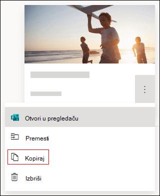 Kopirajte opciju obrasca u Microsoft Forms.
