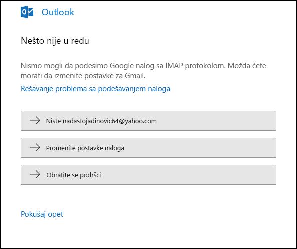 Došlo je do problema prilikom dodavanja naloga e-pošte u Outlook.