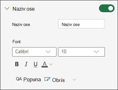 Opcije za osu grafikona za Excel za veb