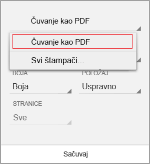 Izaberite stavku Sačuvaj kao PDF