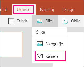 Prikazuje Umetanje slike sa kamere opcija u sistemu Office Mobile za Windows 10