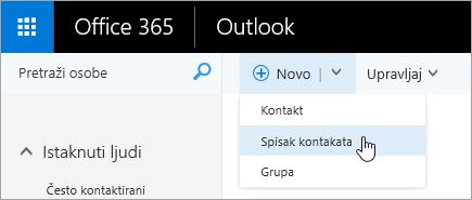 """Snimak ekrana kontekstualnog menija za dugme """"Novi"""" sa izabranom stavkom """"Spisak kontakata""""."""