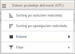 Snimak ekrana opcija menija za Yammer izveštaje