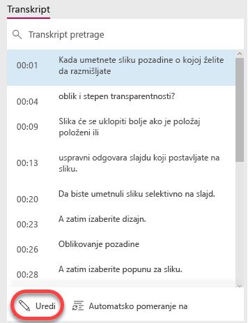 Kliknite na dugme Uredi na dnu prozora transkript