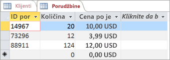 Izbor tabele u programu Access
