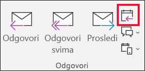 Iz e-poruku, izaberite stavku odgovori sa sastankom.
