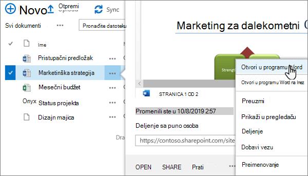 Izabrana > otvori u meniju aplikacije izabrana za Word datoteku u klasičnom prikazu OneDrive online portala