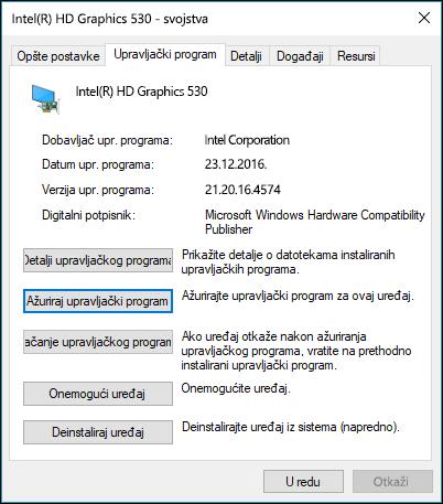 Odlazak na karticu upravljačkog programa radi ažuriranja ili vraćanja upravljačkog programa uređaja
