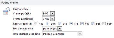 """Odeljak """"Radno vreme"""" u dijalogu """"Opcije programa Outlook"""""""