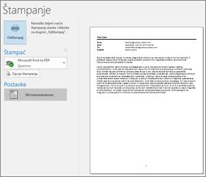 Pregled pre štampanja Outlook e-poruke