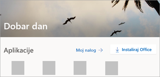 Snimak ekrana Office.com matične stranice nakon prijavljivanja