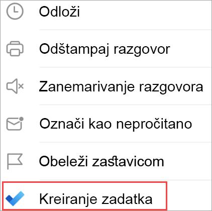 Prikazuje opcije e-pošte