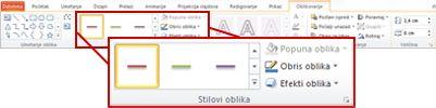 """Kartica """"Oblikovanje"""" u okviru """"Alatke za crtanje"""" u programu PowerPoint 2010."""
