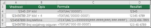 Specijalni formati za funkciju TEXT