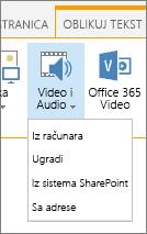 """Umetanje video zapisa ili zvuka dugmeta u trake """"Uređivanje"""""""