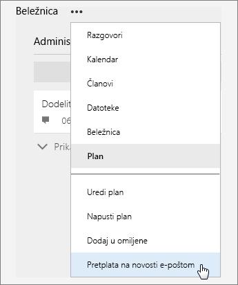 """Snimak ekrana liste """"Još"""" sa aktivnom stavkom """"Pretplatite se na novosti e-poštom""""."""