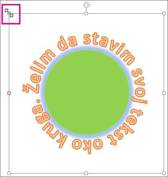 Regulator veličine na WordArt grafici koji se koristi za promenu veličine