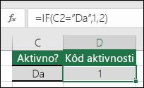 """Ćelija D2 sadrži formulu =IF(C2=""""Yes"""",1,2)"""