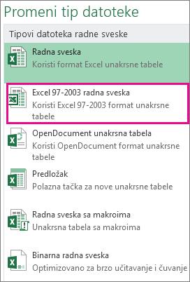"""Format """"Excel 97-2003 radna sveska"""""""