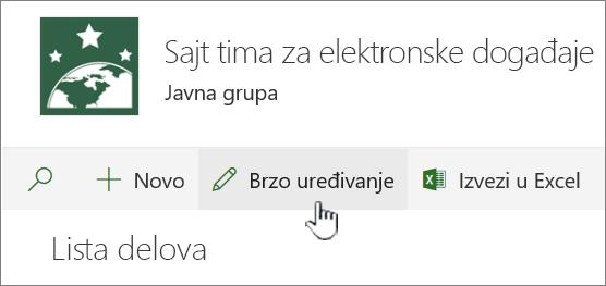 Prikaz liste sa brzog uređivanja istaknuta