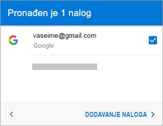 """Dodirnite stavku """"Dodaj nalog"""" da biste dodali Gmail nalog u aplikaciju"""