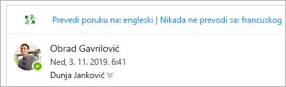 Snimak ekrana odziva za prevođenje poruke