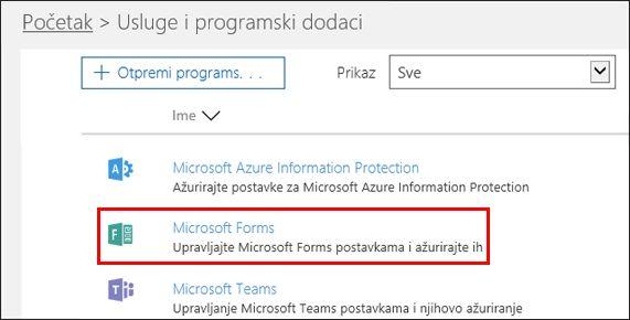 Microsoft Forms administratorskih postavki