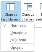 """U meniju """"Okno sa fasciklama"""" izabrana je stavka """"Normalno""""."""