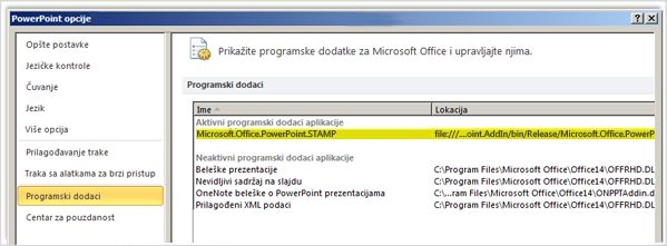 PowerPoint Options, Add Ins screen with STAMP add in highlighted