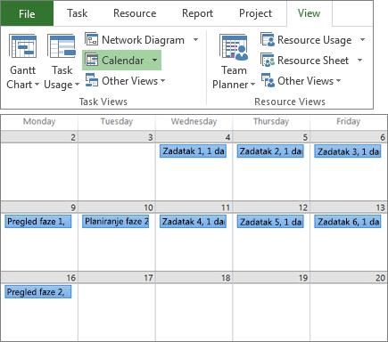 """Složeni snimak ekrana grupa """"Prikazi zadataka"""" i """"Prikazi resursa"""" na kartici """"Prikaz""""i plana projekta u prikazu """"Kalendar""""."""