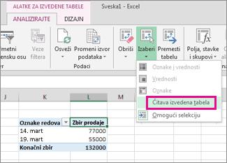 Izaberi celu izvedenu tabelu