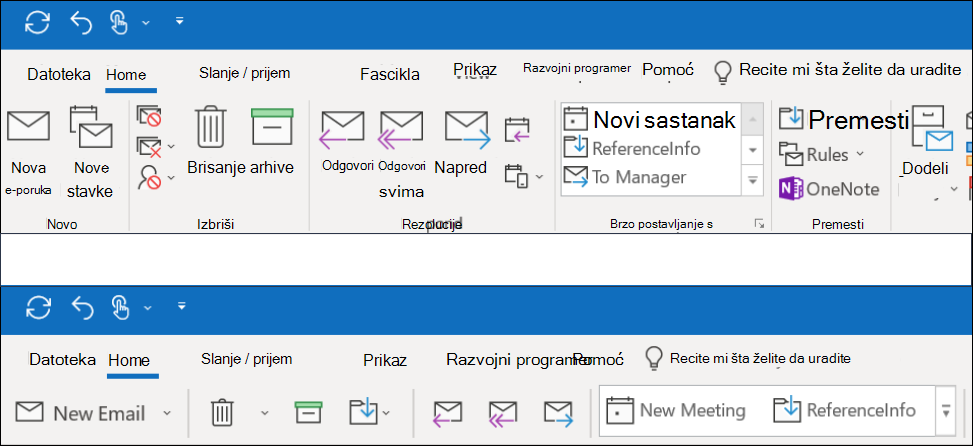 Sada možete da birate između dva različita iskustva na traci u programu Outlook.