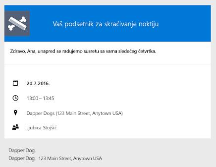 Primer za podsetnika isporučena klijentima putem e-pošte
