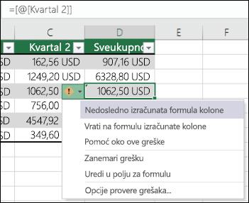 Greška u formuli nisu konzistentne obaveštenja u Excel tabeli
