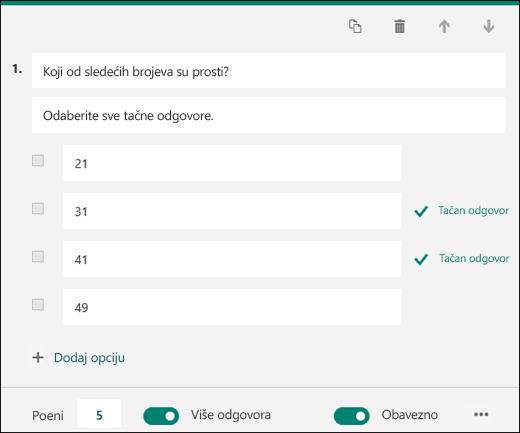 Pitanje sa testa prikazano sa opcijama sa označenim tačnim odgovorima.
