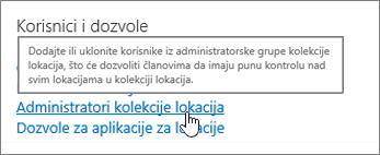 Administratori kolekcije lokacija istaknuta u okviru korisnici i dozvole