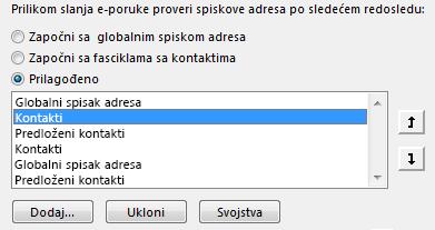 Možete da definišete redosled kojim Outlook pristupa adresarima koristeći strelice.