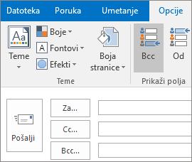 """Da biste uključili polje Bcc, otvorite novu poruku, odaberite karticu """"Opcije"""" i u grupi """"Prikaži polja""""odaberite """"Bcc""""."""