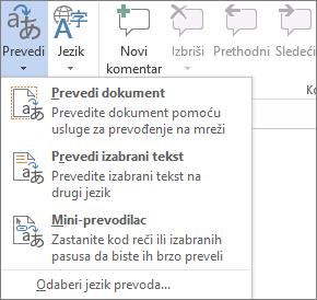 Dostupne alatke za prevod u Office programima