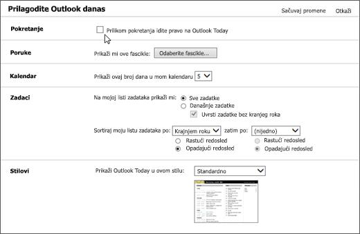 """Snimak ekrana okna prilagodi Outlook danas u programu Outlook, koji prikazuje dostupne opcije za pokretanje, poruke, kalendar, zadatke i stilovi. Kursor ukazuje na polje za potvrdu """"Prilikom pokretanja Idi direktno u Outlook danas""""."""