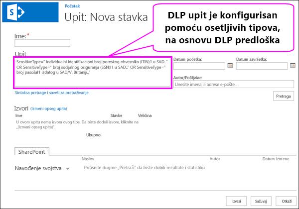 DLP upit koji sadrži osetljive informacije tipovi