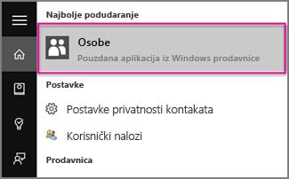 """Otkucajte """"Osobe"""" u operativnom sistemu Windows 10"""