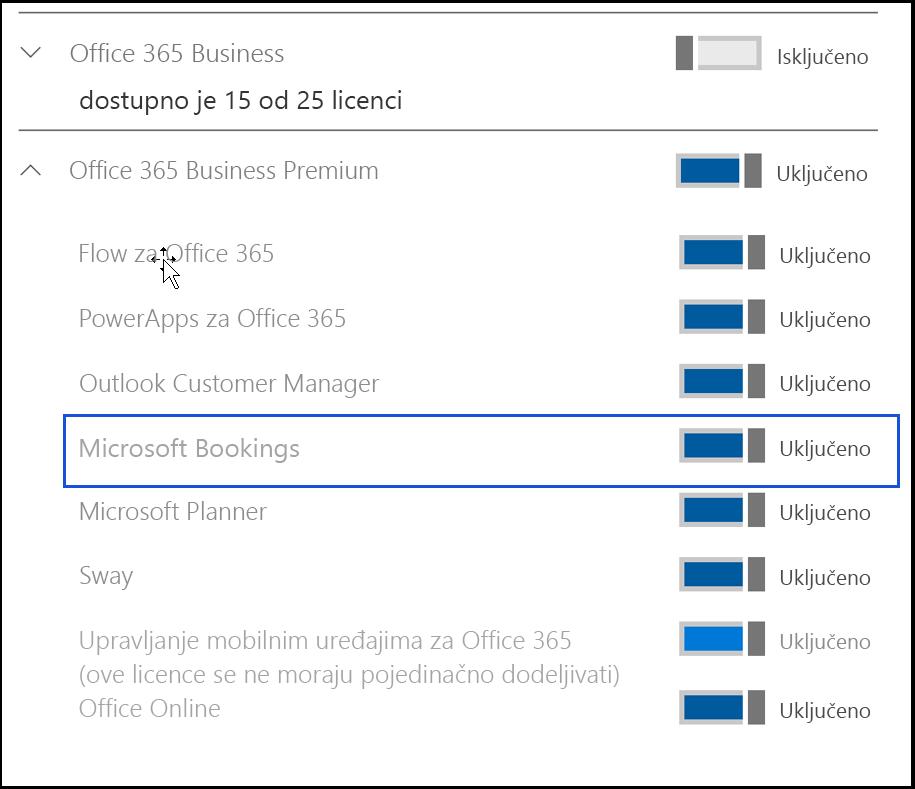 Snimak ekrana koji prikazuje Microsoft Bookings postavku tako da se isključiti u korisničke licence proizvoda.