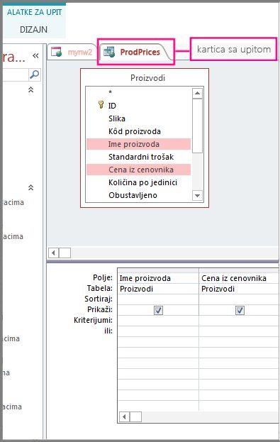 Prikaz dizajnera upita sa isticanjem kartice Upit