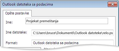"""Dijalog """"Outlook datoteka sa podacima"""""""